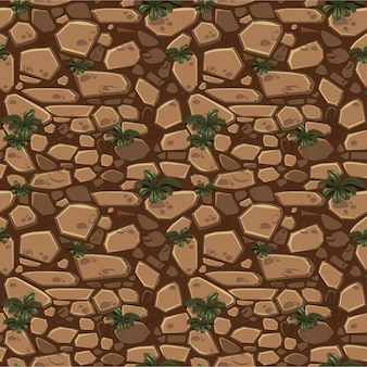 View from above seamless background texture brown stones.