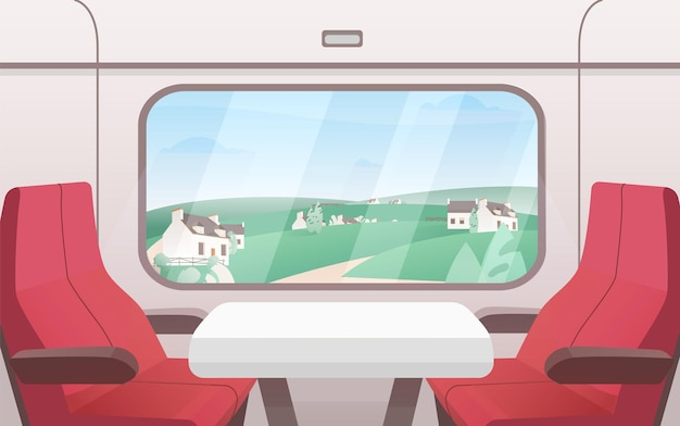 View from train window flat illustration. modern railway carriage interior with comfortable red chairs and small coffee table.
