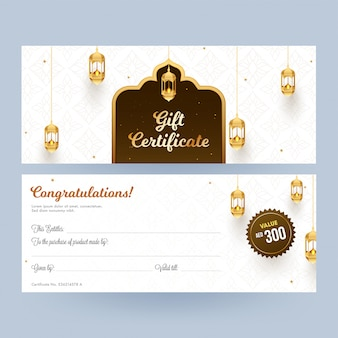 View of front and back gift certificate decorated with illuminat