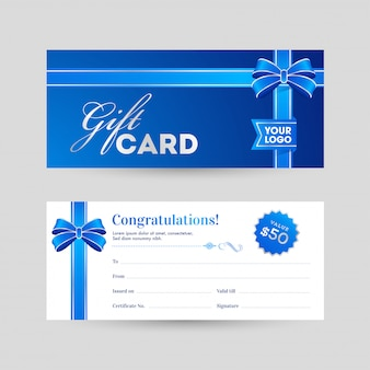 View of front and back horizontal gift card with blue ribbon and