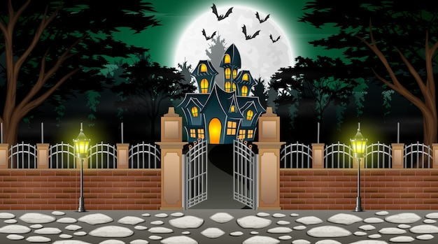 View of a haunted house with a background of full moon