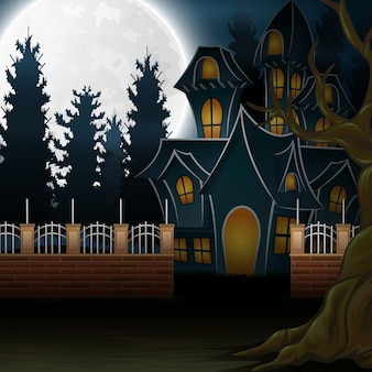 View of a haunted house with the background