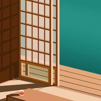 View of the japanese style door in side the japan home in minimal style with some shadow from the sun on the floor and small table with a glass of orange juice in minimal style