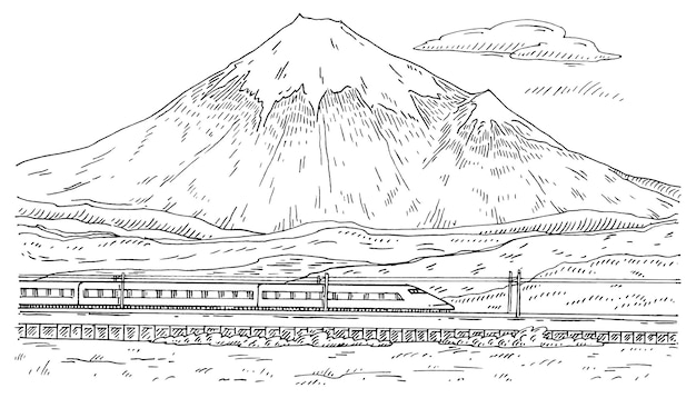 View of mountain fuji and traveling train with passenger carriages. vintage engraving