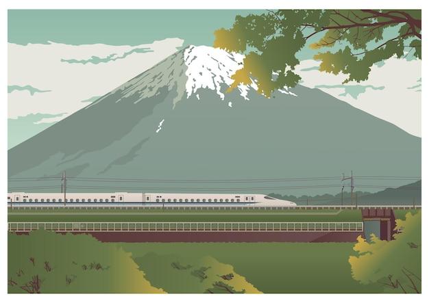 Вид на гору фудзи и путешествующий поезд с пассажирскими вагонами. цветной вектор плоский мультфильм иллюстрации. концепция для японии. широкий панорамный горизонтальный постер