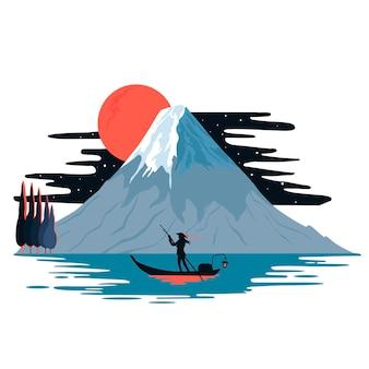 富士山の眺め。ボートに乗っている漁師。白い背景に分離された色ベクトルフラット漫画イラスト。日本のコンセプト。