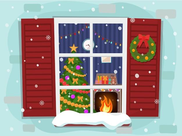 Вид на уютную новогоднюю гостиную с елкой и камином через окно