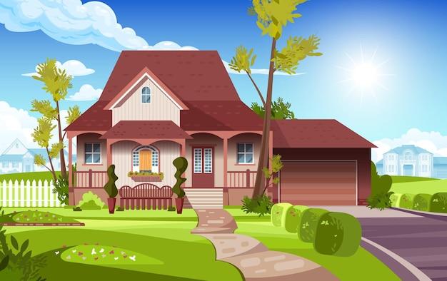Вид на передний двор загородного загородного дома плоской иллюстрации