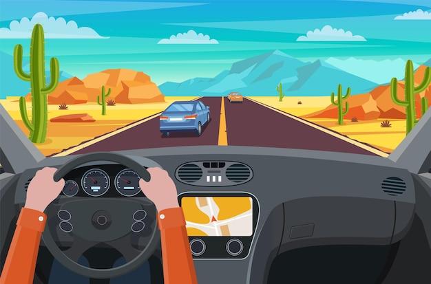 자동차 내부에서 도로의 전망. 사막에서 고속도로로.