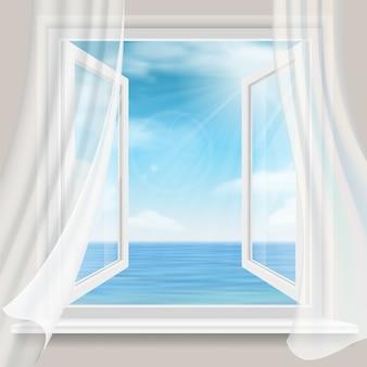 開いた窓と白いカーテンのある部屋からの海の水平線の眺め。