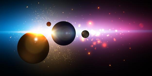 Вид на солнце из космоса с яркими лучами и бликами.