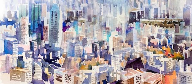 부동산에 대한 마을 랜드마크 비즈니스 개념의 전망. 마천루와 고층 건물 배경으로 도시의 다채로운 수채화 풍경 반 추상. 손으로 그린 그림 상위 뷰입니다.
