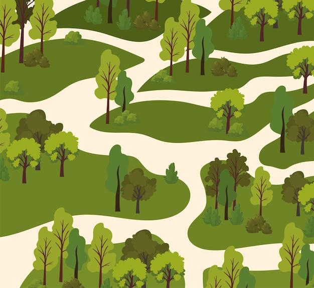 木々や道路のイラストのビュー