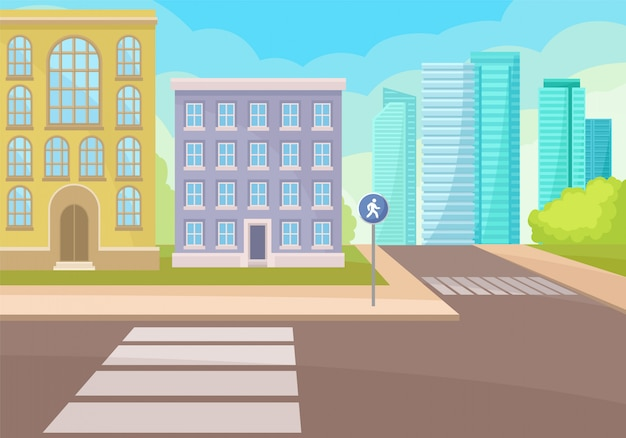 横断歩道と標識のある通りの交差点を表示します