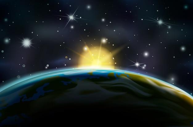 地球の軌道上の日の出を見る