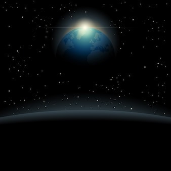 View of the planet earth from outer space background