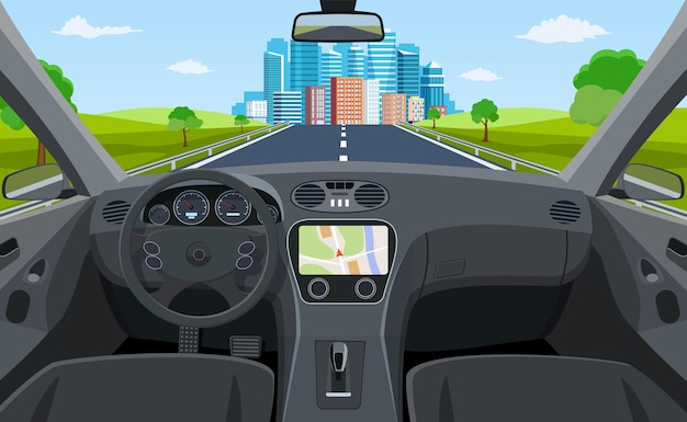 View of the road from the car interior Premium Vector