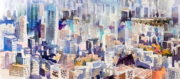View of the town landmark business concept for real estate. watercolor painting landscape semi abstract colorful of city with skyscraper and tall building background. hand drawn illustration top view.