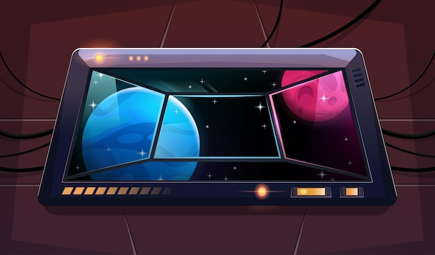 Viewport with a view on alien planets and stars