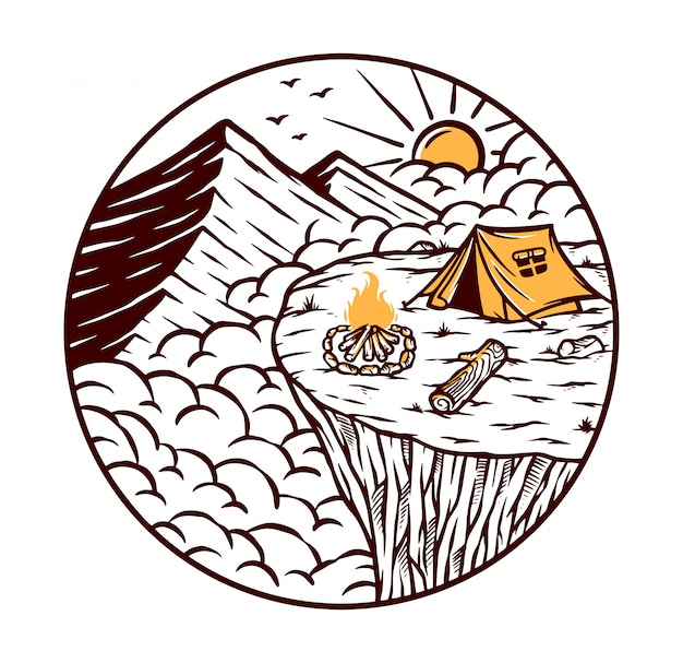 Views of the mountain from the top of the cliff illustration