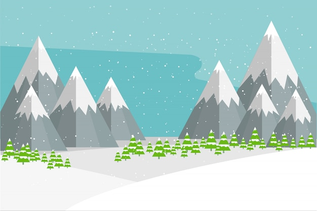 Views of natural winter landscape.