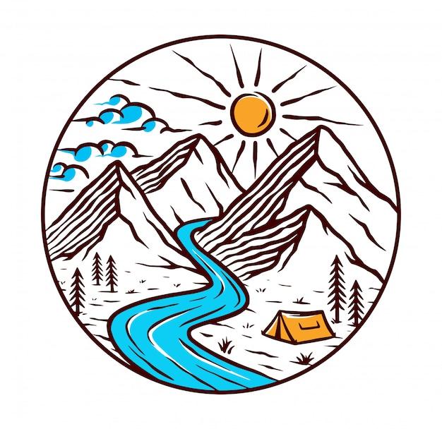 山と川のイラストのビュー