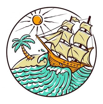 Views of sailing ships illustration