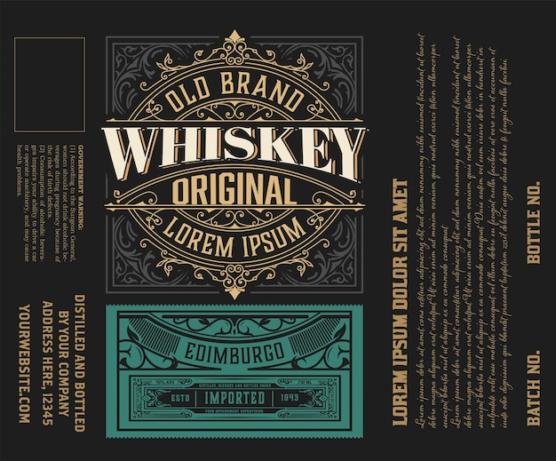 Viintage label . ornate logo template for tequila, whiskey, spirituous drinks label.