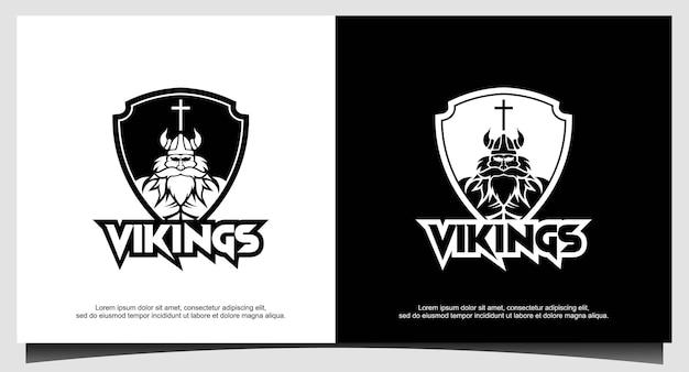 バイキングアーマーヘルメットのロゴデザイン、ボート船、クロスフィット、ジム、ゲームクラブ、スポーツ用
