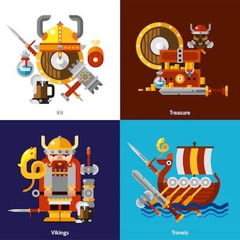 Viking army icons set