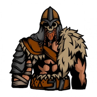Viking army with skull mask vector