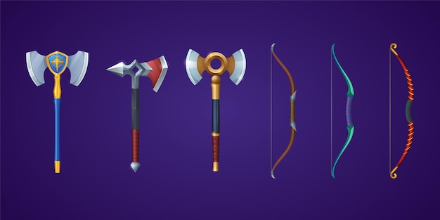 Asce vichinghe e archi per tiro con l'arco per battaglie medievali o set di cartoni animati vettoriali di armi pesanti antiche...