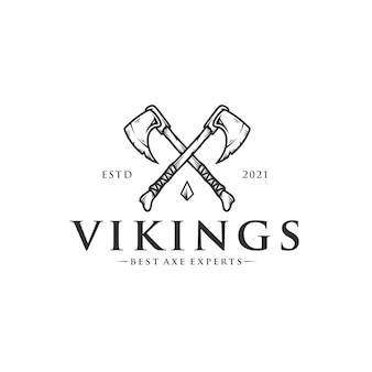 Шаблон логотипа топоров викингов