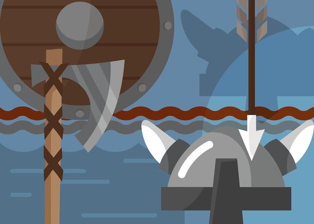 鎧と武器のバイキングバナー。漫画風のスカンジナビアのプラカードのデザイン。