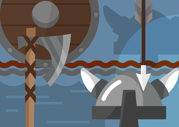 Viking banner with armor and weapons. scandinavian placard design in cartoon style.