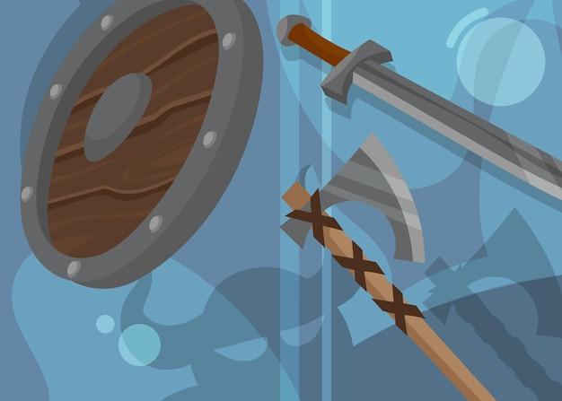 Знамя викингов со щитом и оружием. скандинавский дизайн плаката в мультяшном стиле.