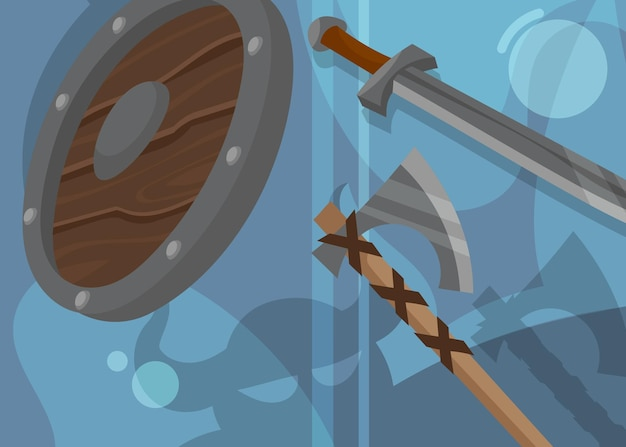 Viking banner with shield and weapons. scandinavian placard design in cartoon style.