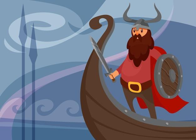 船に戦士とバイキングのバナー。漫画風のスカンジナビアのプラカードのデザイン。