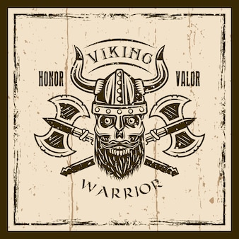 Viking bearded skull and axes vector brown emblem, label, badge or t shirt print on background with grunge textures