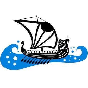 Viking boat on rough sea