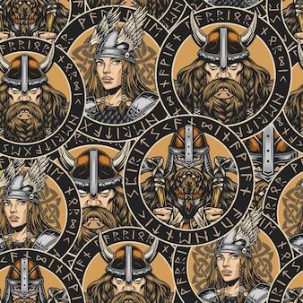 날개 달린 헬멧과 금속 갑옷을 입은 예쁜 발키리와 헬멧을 쓴 강한 수염 난 중세 북유럽 전사와 함께 빈티지 스타일의 화려한 바이킹 패턴