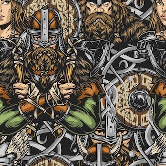 Викинг красочный старинный бесшовный образец с сильными бородатыми скандинавскими воинами