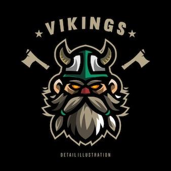 Viking detail illustration for shirt design template