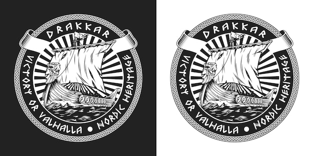 Viking drakkar ship vintage round label with medieval nordic warship sailing on sea in monochrome style