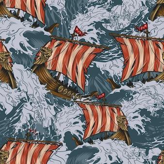 バイキングドラッカーは、嵐の海を航行する中世のスカンジナビアの軍艦とヴィンテージスタイルでカラフルなシームレスパターンを出荷します