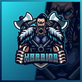 Шаблон дизайна логотипа киберспорта талисмана воина-гладиатора викинга