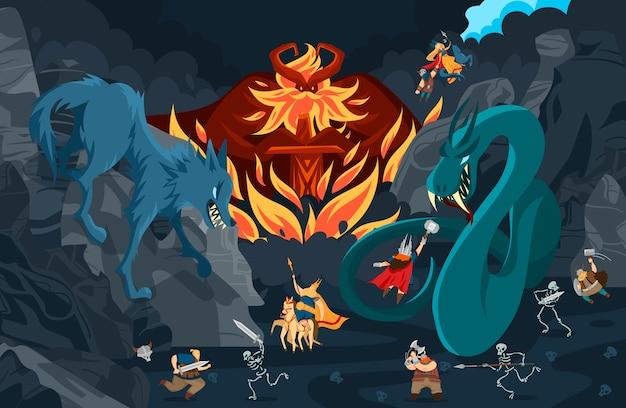 バイキングの神々、北欧神話の人々やモンスターの漫画のキャラクター、戦いのシーンイラスト Premiumベクター