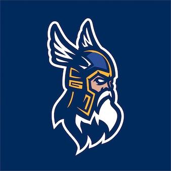 Шаблон логотипа эмблемы viking gods warrior esport