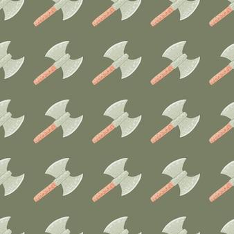 Викинг топорики бесшовные каракули узор в пастельных бледных тонах