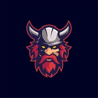 Viking head cartoon logo template illustration esport logo gaming premium vector